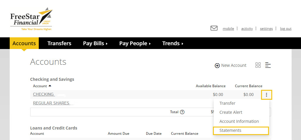 screenshot of virtual branch self service tab